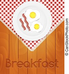 White Plate with Fried Eggs on Kitchen Napkin