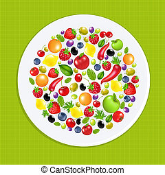White Plate With Fruit And Vegetables