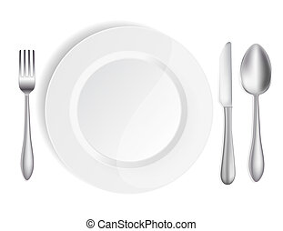 white plate with knife, spoon and fork
