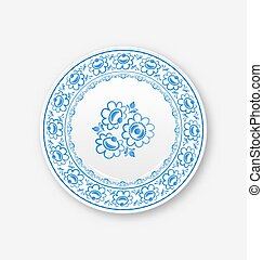White plate with russian ornament in gzhel style