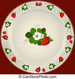 White plate with strawberry