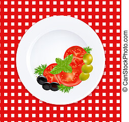 White Plate With Tomatoes Olives And Fresh Herbs