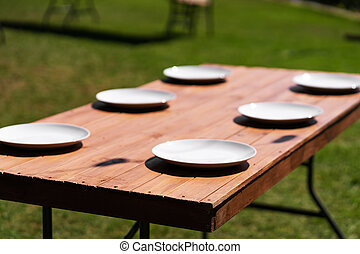 White plates are placed on a wooden table in the park on a green lawn.
