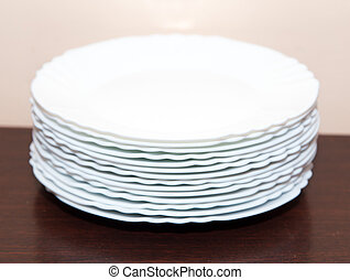 white plates on the table