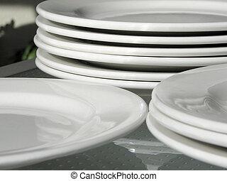White Plates - Shot of white plates.