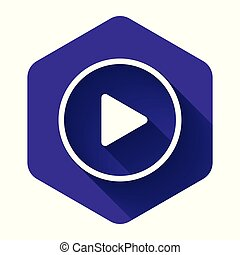 White Play icon isolated with long shadow. Purple hexagon button. Vector Illustration