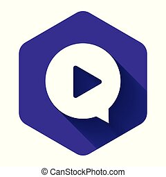 White Play in circle icon isolated with long shadow. Purple hexagon button. Vector Illustration
