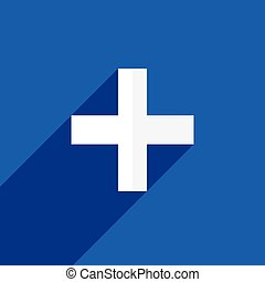 White plus, cross symbol with shadow on backdrop. Icon for medical, healthcare, first aid concepts