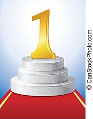 white podium for winner - vector illustration
