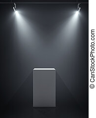 White podium in the spotlights. 3d rendering