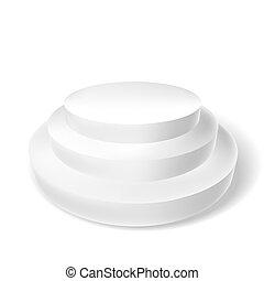 white podium with three steps