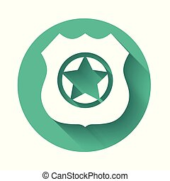 White Police badge icon isolated with long shadow. Sheriff badge sign. Green circle button. Vector Illustration