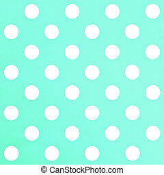 White Polka Dot on pastel turquoise background