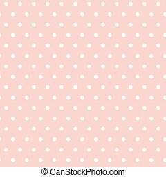 White polka dots on a pink background. Seamless pattern