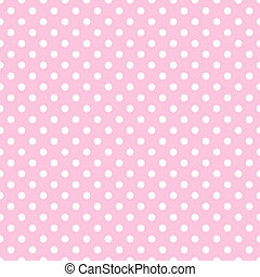 White polkadots on baby pink background