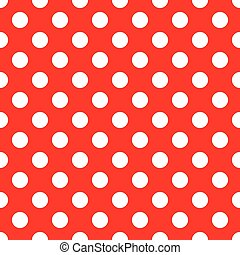 White Polka Dots on Red Background Seamless