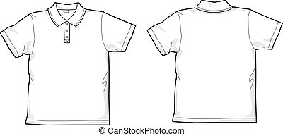 polo-shirt  - White polo-shirt - back and front