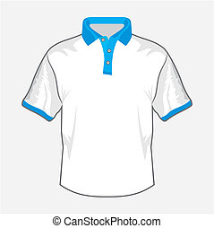 White polo shirt design with blue c