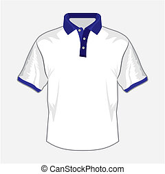 White polo shirt design with dark blue collar