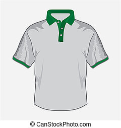 White polo shirt design with green