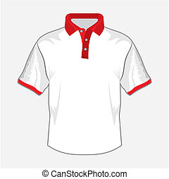 White polo shirt design with red collar