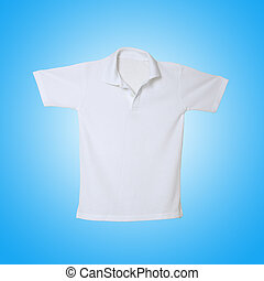 White polo shirt on blue background