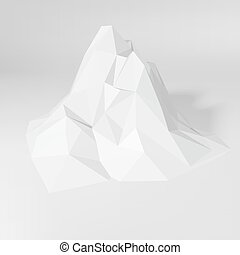 White Polygonal Mountain Landscape - White abstract...