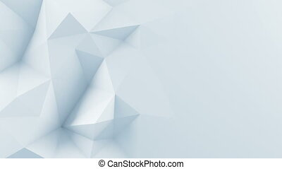 White polygonal shape 3D render animation loop