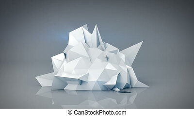 White polygonal shape. Abstract 3d render animation loop