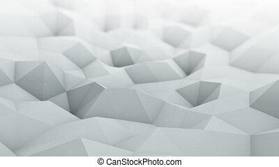 White polygonal surface waving seamles loop 3D render