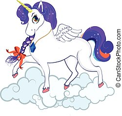 White pony unicorn with big eyes, golden horn, feather wings and purple mane