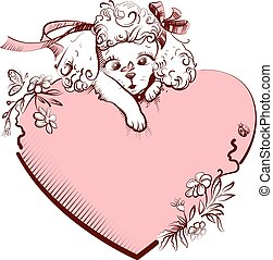 White Poodle Dog and heart symbol of love