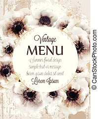 White poppies floral wreath Vector. Beautiful wedding card. Delicate backgrounds