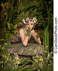 White Poppy Girl 3D Computer Graphics - 3D computer graphics...