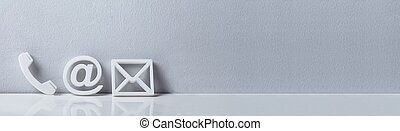 Popular Contact Web Icons On Desk