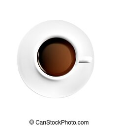 White porcelain Cup of black coffee on white background