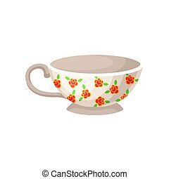 White porcelain cup with flowers vector Illustration on a white background