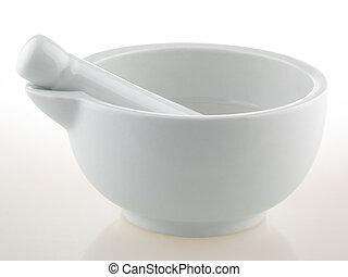 White porcelain mortar and pestle set - ?????? ?? ????? ????