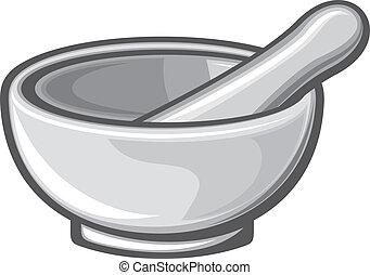white porcelain mortar and pestle (white pestle, pharmacy mortar and pestle)