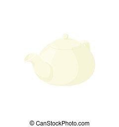 White porcelain teapot icon, cartoon style