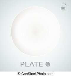 White Porcellan Plate Isolated On A Background. Vector Illustration.