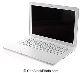 portable computer - white portable computer on white ...