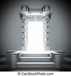 White portal to future with bright light. - A 3d ...