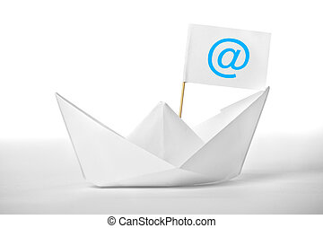 White postal boat with a flag for your design