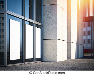 White poster in windows of modern office building. 3d rendering
