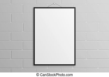 White poster mockup with black frame brick wall