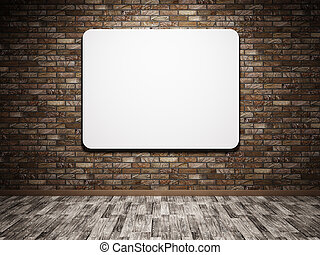 White poster on the wall