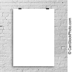 white poster - poster hanging on a rope and brick wall