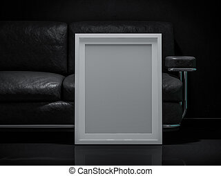 White poster with frame mockup. 3D