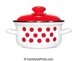 White pot of polka dots